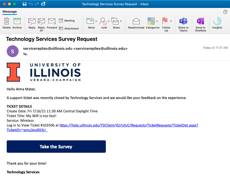 Sample Survey Request Email
